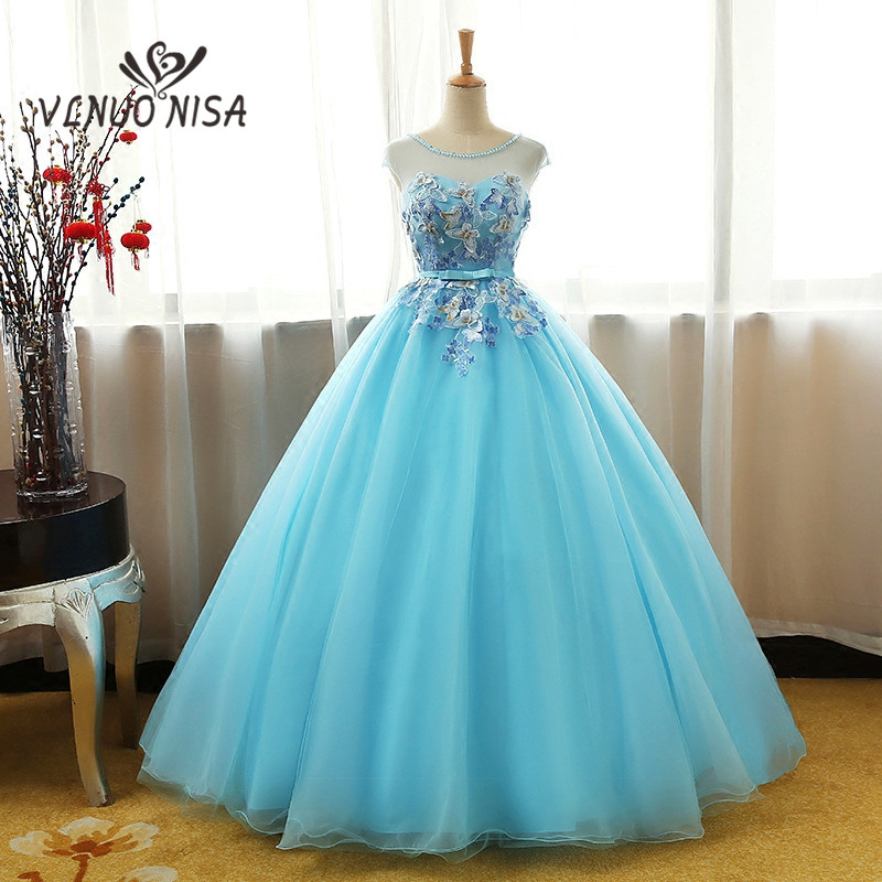 Real Photo 3 Colors Available Sweet Ball Gown Beading O-Neck Lace Appliques Sexy Illusion Evening Dress Butterfly Pattern Prom