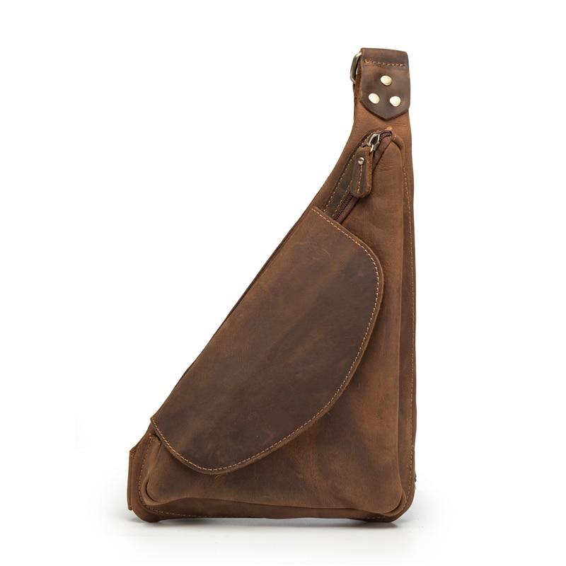 Crazy Horse Genuine Leather Men Crossbody Bags Messenger Shoulder Bags Chest Bag Triangle Designer Package Back
