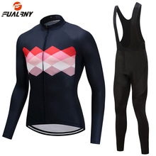 2019 New Men Women Winter Thermal Fleece Cycling Clothing Set Bike Clothes MTB Bicycle Jersey Bib Pants with 9D Gel Padded