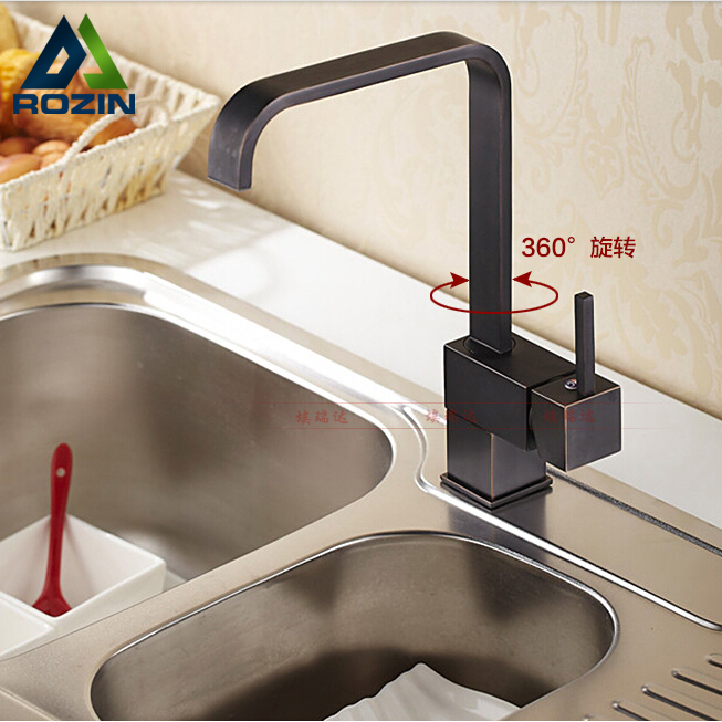 Good Quality Rotation Neck Kitchen Sink Mixer Faucet Deck Mount Square Kitchen Cock Taps Single Handle