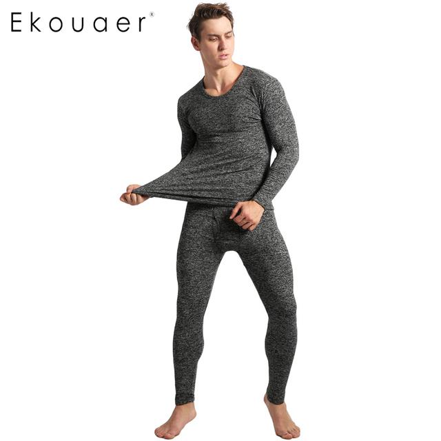 Ekouaer Pijamas de Inverno Dos Homens de Manga Comprida Sólidos Magro Sleepwear O-pescoço Roupa Pijamas Set homewear para homens pijama pijama homme