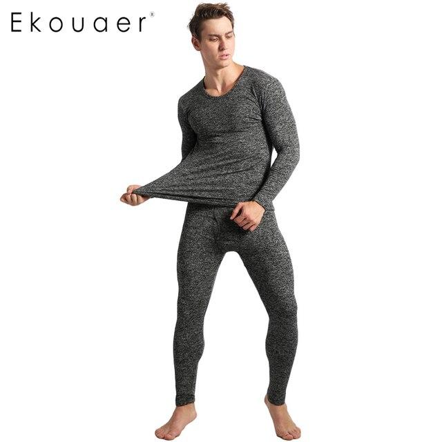 Ekouaer Winter Pyjamas Mens Long Sleeve Solid Slim Sleepwear O-Neck Nightwear Pajamas Set homewear for men pyjama homme pajama