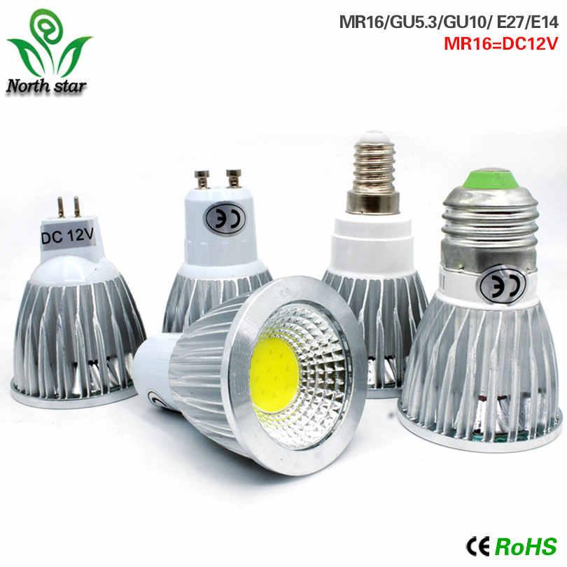 E27 E14 GU10 MR16 светодиодный COB прожектор управляемый 9 Вт, 12 Вт, 15 Вт, Светодиодный прожектор лампы светодиодные лампы высокой мощности DC12V или AC85-265V