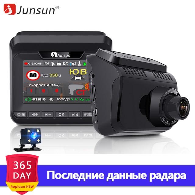 Junsun 2019 Автомобильный видеорегистратор Комбо-устройство 3 в 1 : Видеорегистратор радар-детектор и GPS-информатор Запись Super HD 1296P Обновленные базы радаров Обнаружение радаров типа Стрелка Робот Автодория