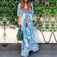 Boho New Plus Size Long Dress Floral Print Cotton Sexy V neck 3/4 Sleeve Dress Maxi Women Dress Chic Bohemia Summer Dresses