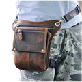 Hot Sale Top Quality Genuine Real Leather Cowhide men vintage Messenger Bag Waist Pack Leg Bag 211-4