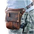 Hot Sale Top Quality Genuine Real Leather Cowhide men vintage Messenger Bag Waist Pack Leg Bag 211-4