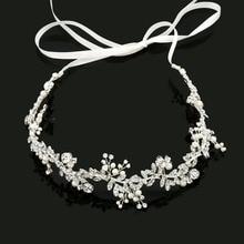 2017 New Arrival Ribbon Alloy Wired Rhinestones Crystals Pearls Flower Leaf Wedding Headband Bridal Hair Vine Hair Accessories