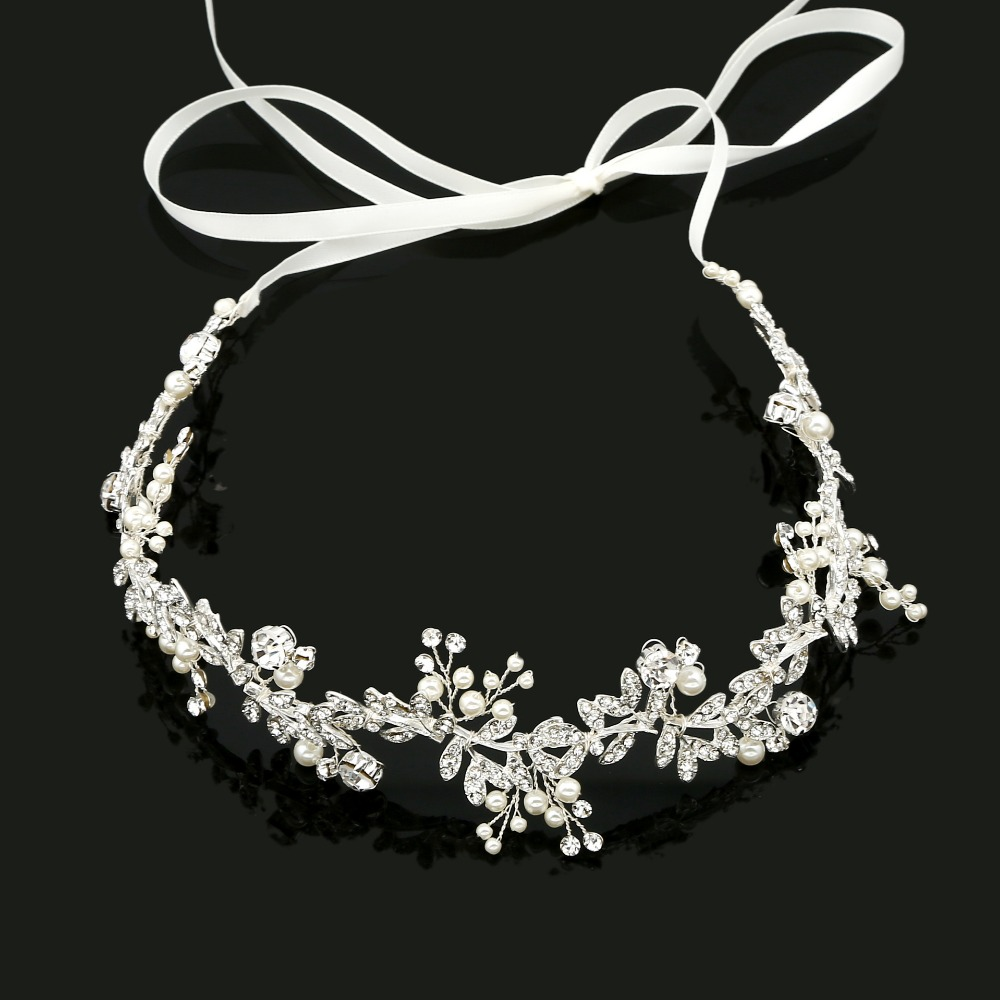 SLBRIDAL Handmade Ribbon Alloy Wired Rhinestones Crystals Pearls Flower Leaf Wedding Headband Bridal Hair Vine Hair Accessories цены онлайн