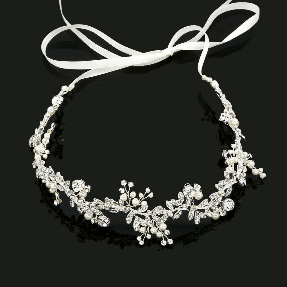 Stunning Handmade Ribbon Alloy Wired Rhinestones Crystals Pearls Flower Leaf Wedding Headband Bridal Hair Vine Hair Accessories alloy leaf flower hair accessory