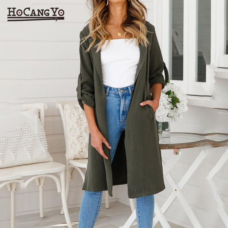 HCYO Women Casual Trenchcoat Women Turn down Collar Slim   Trench   Outerwear Solid Color   Trench   coat Ladies Windbreaker Outwear