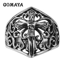 GOMAYA Jesus Stainless Steel Ring Jewelry Tibetan Cross Rings for Men and Women Retro Mayan Religious Belief Punk Party 316L стоимость