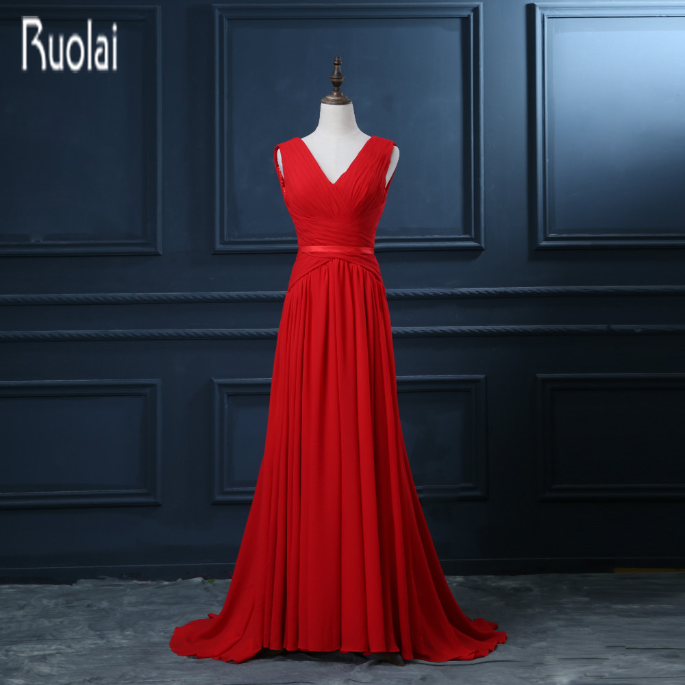 2016 New Arrival Red Chiffon V Neck Sexy Open V Back Sweep Train A Line Formal Long   Evening     Dresses   Custom Made
