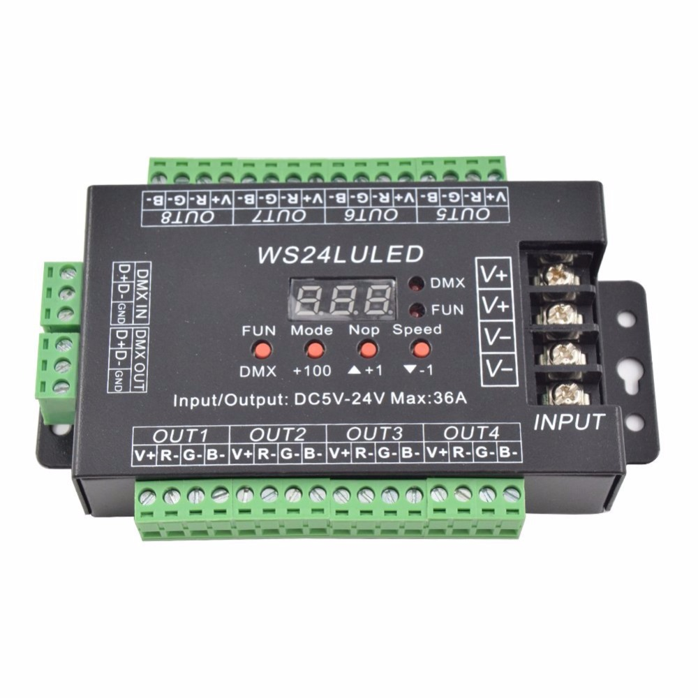 Mokungit 24CH Easy DMX512 RGB Decoder Dimmer Controller WS24LULED DC5-24V 24 Channel 8 Group Each Channel Max 3A dc5v 24v digital display 24ch easy dmx512 dmx decoder led dimmer each channel max 3a 24ch 1 5a 24lu led 8 groups rgb controller