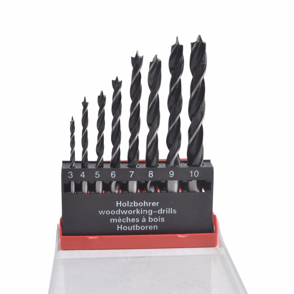 8 Pieces Set Twist Wood Drill Bit Set for Woodworking Drill Kit High Carbon Steel Material
