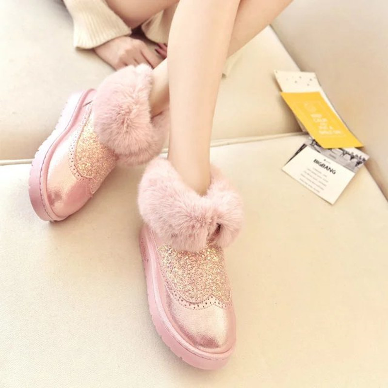 2018 Winter Women Booties Snow Boots Woman Ankle Flats Fur Bling Pu Leather Boots Fashion Casual Warm Waterproof Non-slip Style недорго, оригинальная цена