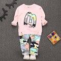 New Boy Roupa Dos Miúdos Definir Terno dos esportes Do Bebê Meninos Da Criança T-shirt Calças infantis Casuais Fatos de Treino Crianças Roupas definir meninas traje