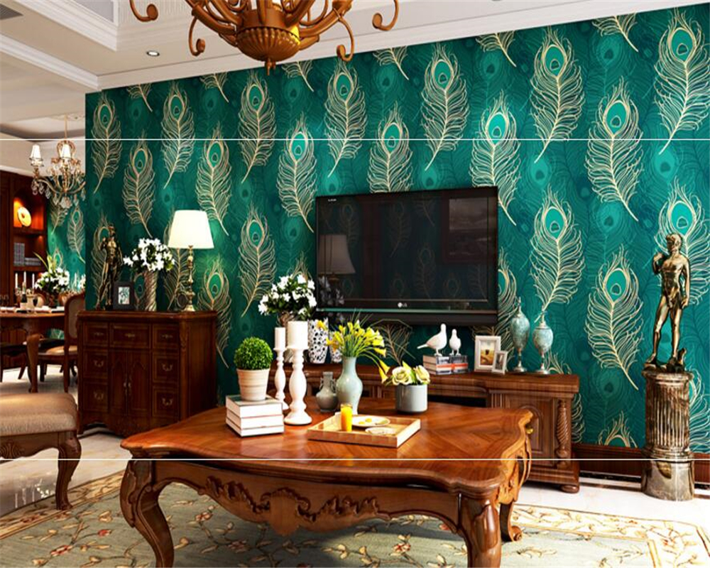 Beibehang 3d wallpaper Southeast Asian Style Peacock Feather Wallpaper Bedroom Living Room TV Background wall paper home decor beibehang peacock deep blue feather