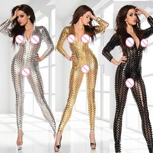 Club Jumpsuits Gold Black Sliver Women Jumpsuit Bodysuit Wholesale Price Sexy Vinyl Women Hollow Out Catsuit Wetlook Jumpsuit