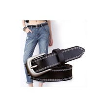 HOT Silver Round buckle belts female leisure jeans wild belt without pin metal brown leather black strap women