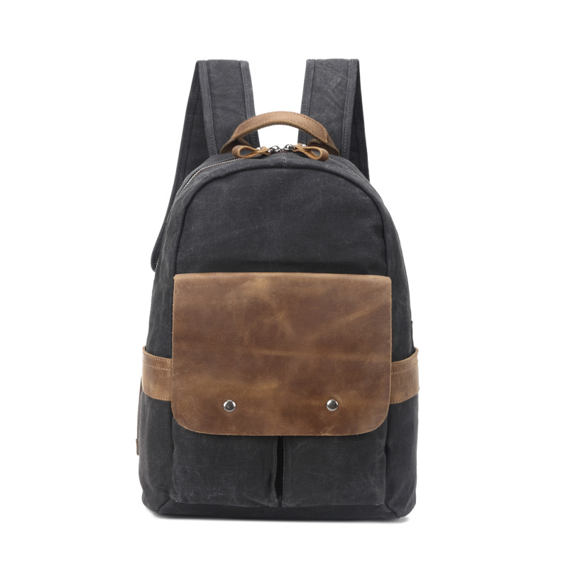 Men Large Capacity Travel Backpack Bag Waterproof Oil Wax Canvas Laptop Backpack Vintage College Style Casual School Bags H056 chic canvas leather british europe student shopping retro school book college laptop everyday travel daily middle size backpack