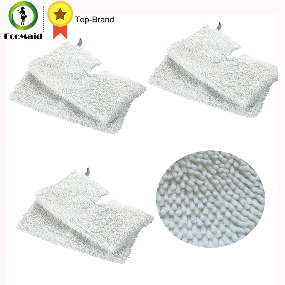 6Pcs Rectangle Mop Microfiber Replacement Cleaning Pads for Shark Steam Pocket Mops S3500  S3601 S3550 S3801CO S3901 Washable 4 pcs white microfibre steam mop cleaning floor washable replacement pads compatible for x5 h20 series dust cleaner part