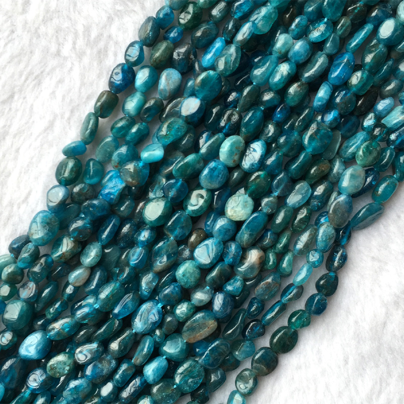 Wholesale Natural Genuine Green Blue Apatite Nugget Free Form Fillet Irregular Pebble Beads Fit Jewelry 6x7mm 15