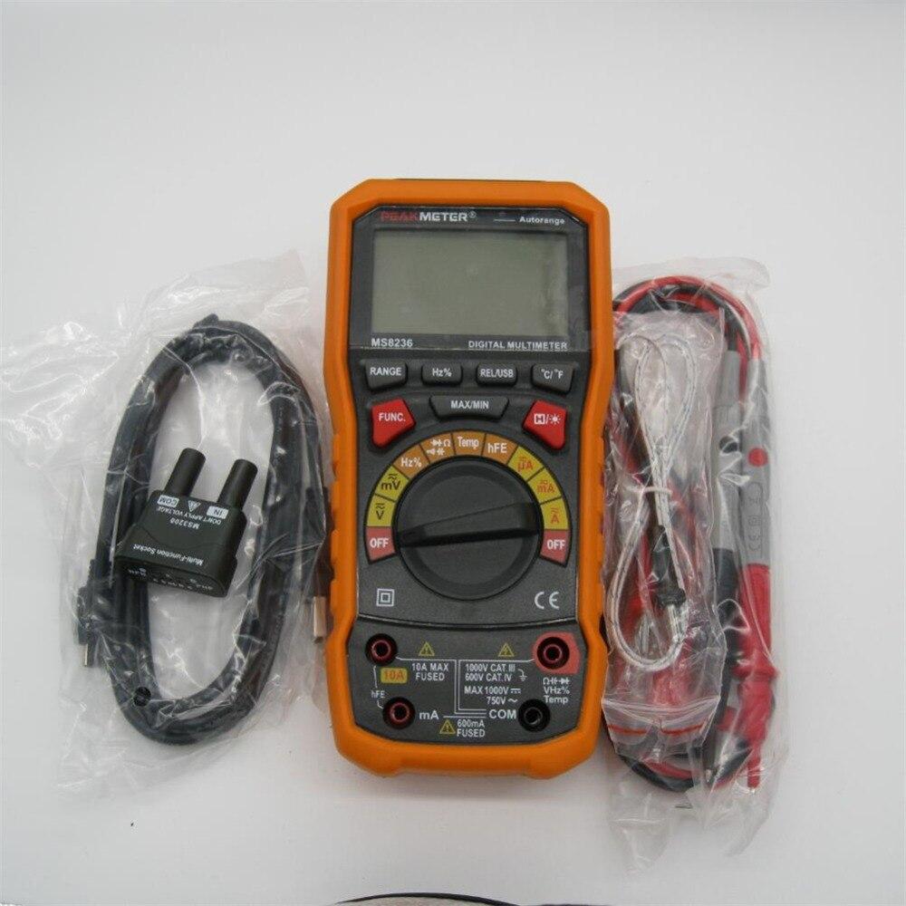 PEAKMETER MS8236 6000 compte multimètre numérique avec T-RMS/USB 1000 V 10A 60 M Ohm 100mF 10 MHz température de cycle de service