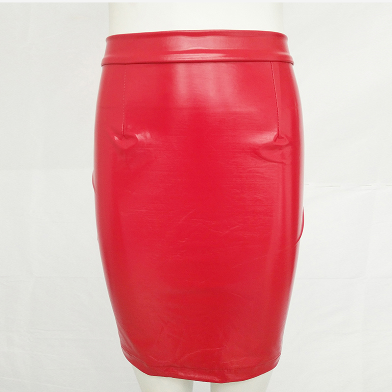 Faux PU Leather Red Black Women Pencil Midi Skirt 2019 Summer Bodycon High Waist Super Hot Skirts Club Sexy Clothes Women Solid in Skirts from Women 39 s Clothing