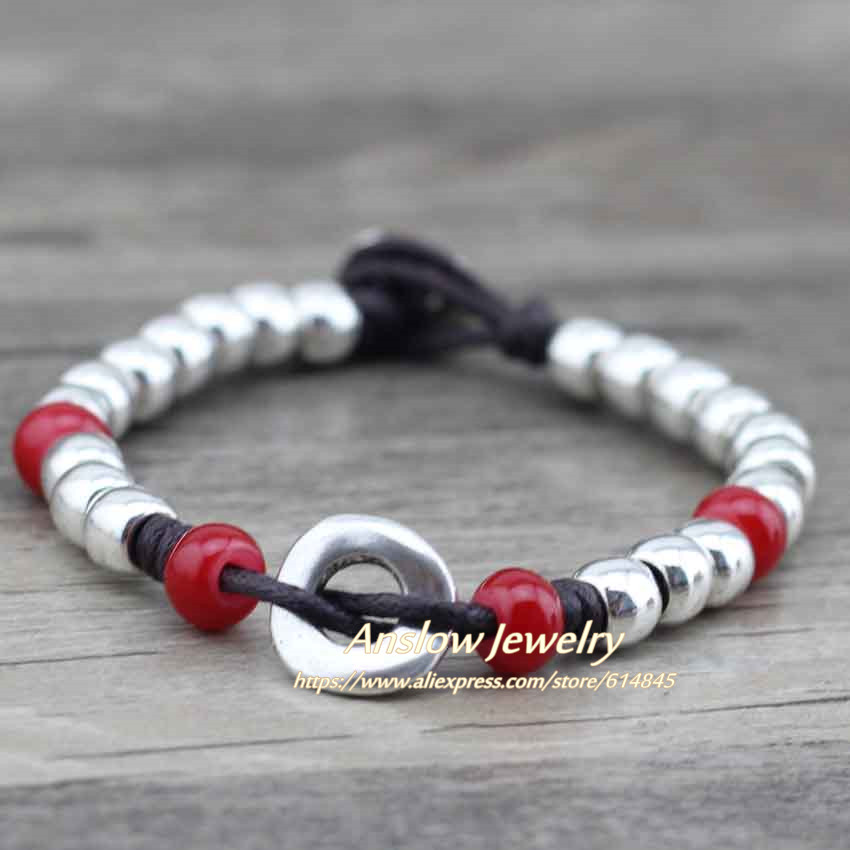 Anslow 17 Best Selling New Design Vintage Retro Silver Plated Zinc Alloy Beads Best Friend Friendship Rope Bracelet LOW0455LB 4