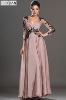 Free Shipping New Sexy V Neck Black Three Quarter Sleeve Appliqued Chiffon Evening Dress