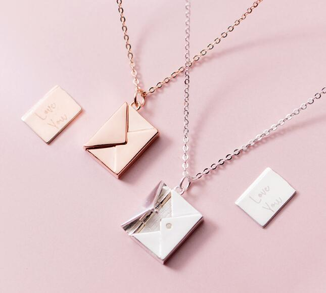 1PC Authentic 100% REAL. 925 Sterling Silver fINE Jewelry Lover Letter Envelope pendant Necklace Gift GTLx1793-in Necklaces from Jewelry & Accessories