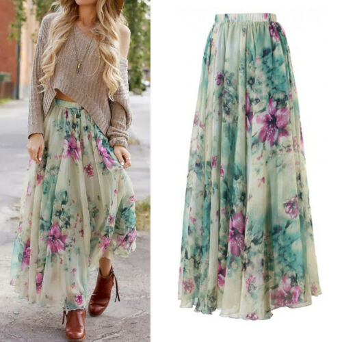 Meihuida 2019 Fashion New Chiffon Boho Women's Floral Long Maxi Full Skirt Sun Skirts Ladies Holiday Summer Faldas De Mujer