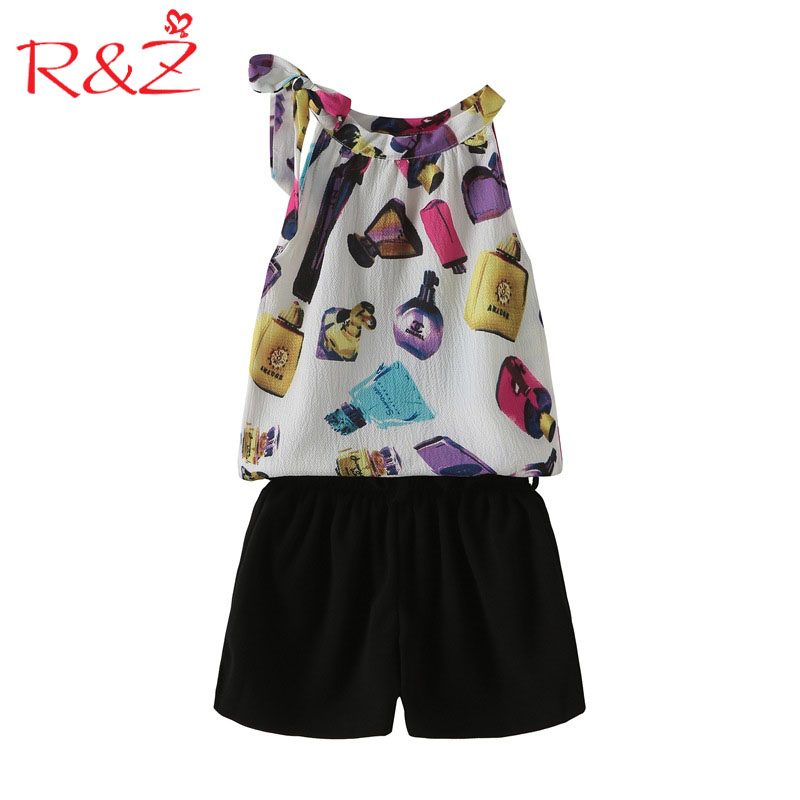 1dfaf3acf3871a R Z Big Girls Sets 2018 New Summer Fashion Chiffon Suspenders Tops+ Black  Shorts 2pcs Suits for