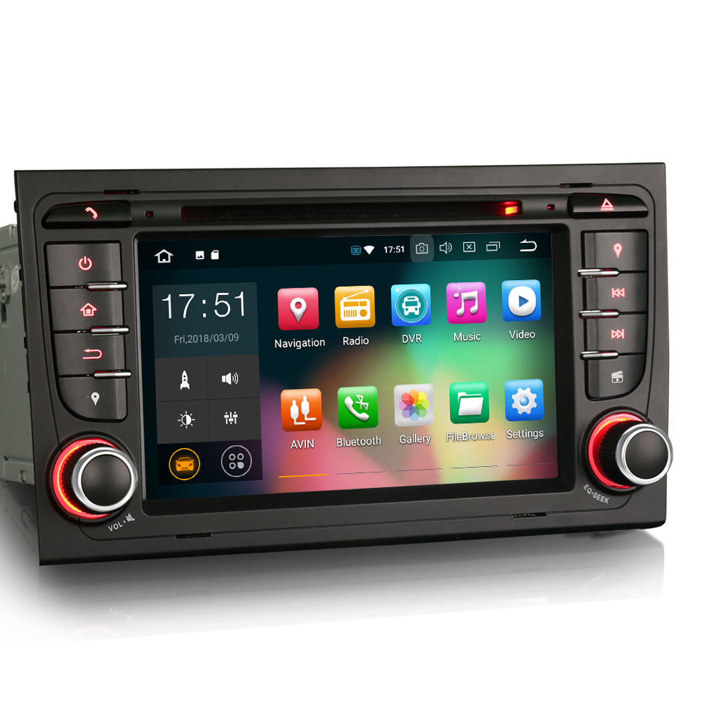 7 Android 8.0 OS Car DVD Multimedia GPS Radio for Audi A4 2000-2008 & S4 2003-2008 & RS4 2002-2008 with Split Screen Support