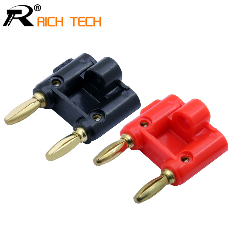 2PCS Black+red 24K Gold Plated Double Dual Head Banana Male Plug Connector