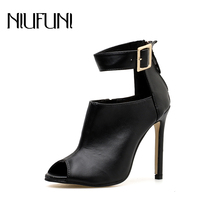 NIUFUNI Summer Boots High Heel Sandals Ankle Metal Cut Out Buckle Shoes Peep Toe Rome Style Ankle Boots Shoes Plus Size 35-42 colorful crystal women shoes ankle peep toe high heel buckle newest real photo sandals metal buckle platform shoes bling hotsale