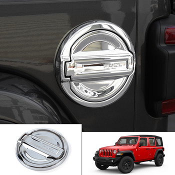 Tapa de tanque de combustible para coche, Exterior de estilismo, embellecedor de tapa de combustible para coche, de Cromo 2 uds/Color de fibra de carbono para Jeep Wrangler JL 2018 2019