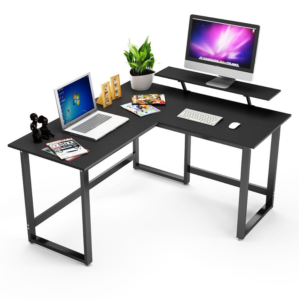 DEWEL L Shaped Desk Corner Computer Desk With Stand PC Laptop Table Workstation For Home Office