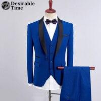 Mens azul boda smoking Trajes 3 unidades con Pantalones 2018 nuevo diseño chal negro de solapa slim fit púrpura traje negro hombres dt355