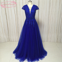SuperKimJo evening dresses gowns v neck lace appliques pearls beading cap sleeve royal blue prom dresses vestidos de fiesta