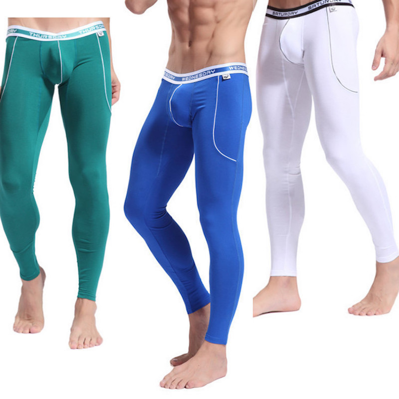 WJ Men's Day Of Week Long Johns Sleep Pants Thermal Pants Bamboo Fibre Autumn Mens Winter Pants Tight Slim Underwear