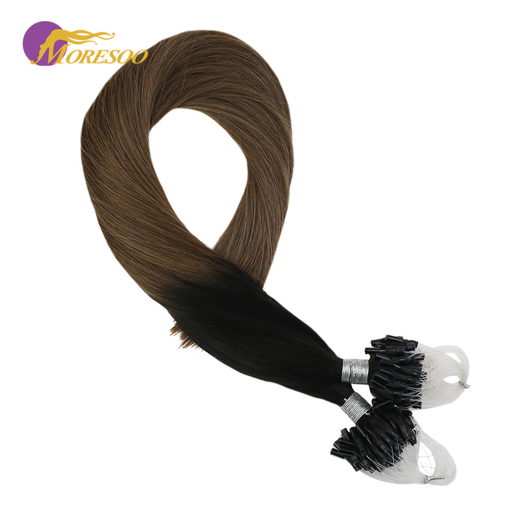 Moresoo Micro Loop Hair Extensions Ombre Color Off Black #1B Fading To Brown #10 Machine Remy Human Hair Extensions 1G/1S 50G
