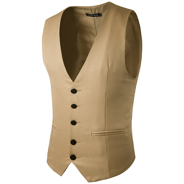 2017 Spring New Men Vest Solid Color Single Breasted Suit Vest Men Casual Slim Fit Waistcoat Men Fashion Gilet homme Black XXL