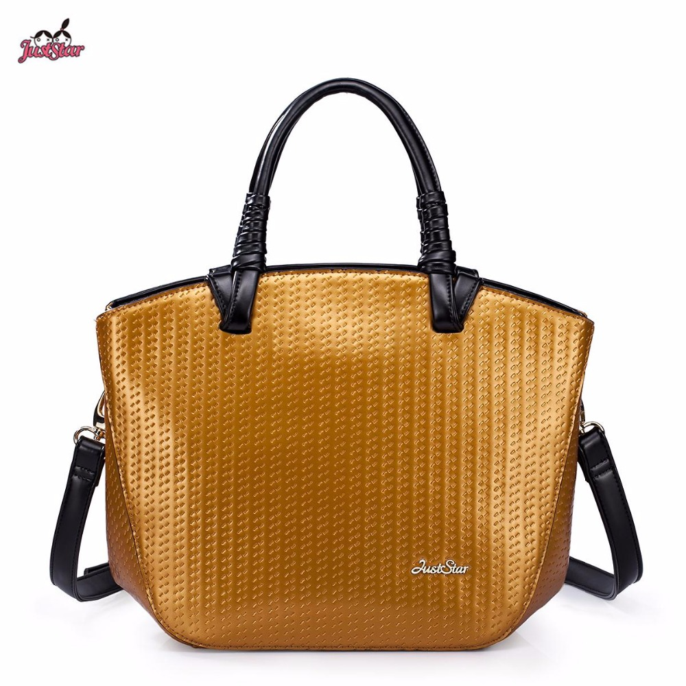 ФОТО Just Star Brand Design Fashion Champagne yellow PU Leather Women Handbag Shoulder Tote Bag Gift For Girl