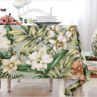 Christmas dust tablecloth green bamboo leaf flower tablecloth cotton thick household dining tablecloth