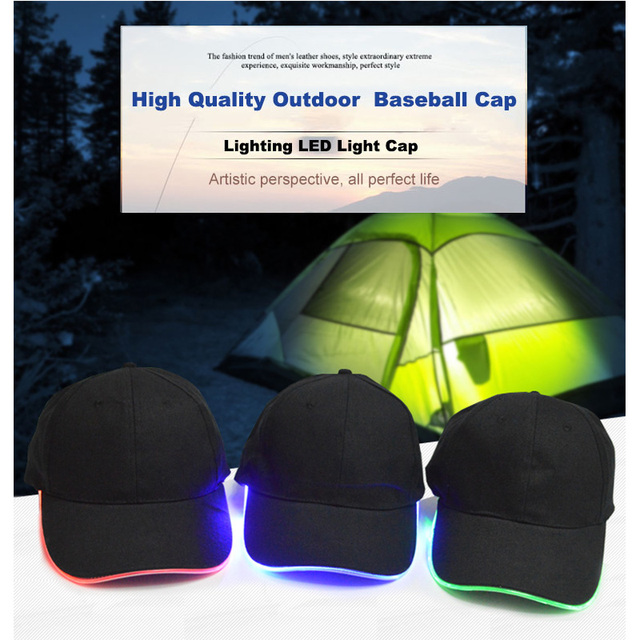 LED illuminated baseball cap Outdoor night hat Stage performance luminous  cap Mountaineering lighting hat Red green e7ff6cd87683