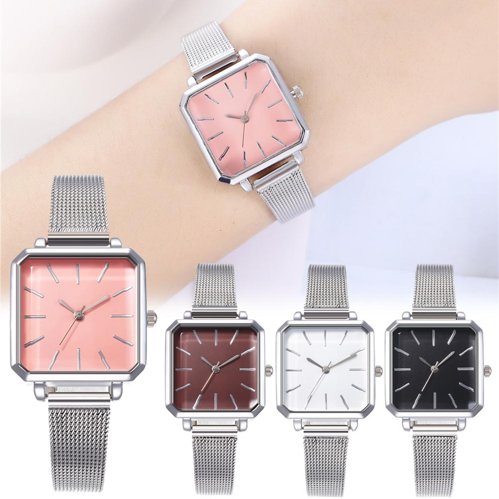 Business Party Women Analog Square Dial Alloy Mesh Band Quartz Wrist Watch Gift Mesh Belt Design Silver Black Brown Watch  Gift