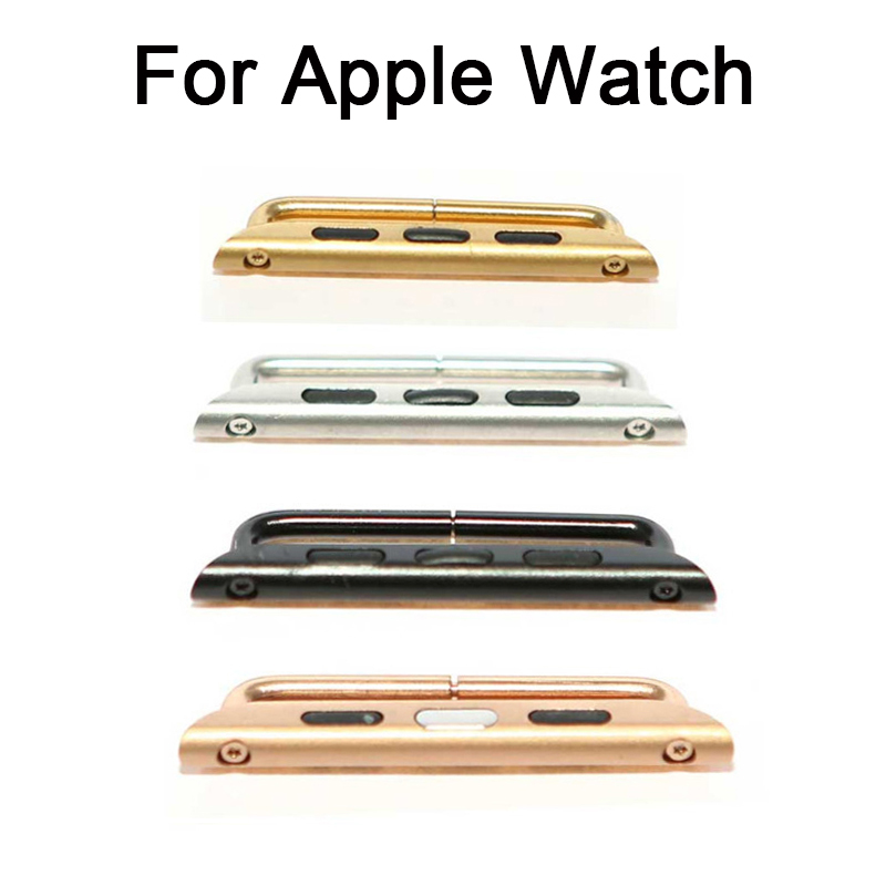 ФОТО lowest price 10pcs/lot 38mm/42mm Seamless Metal Connector Clasp Watch band adapter Buckle For Apple Watch iWatch black sliver