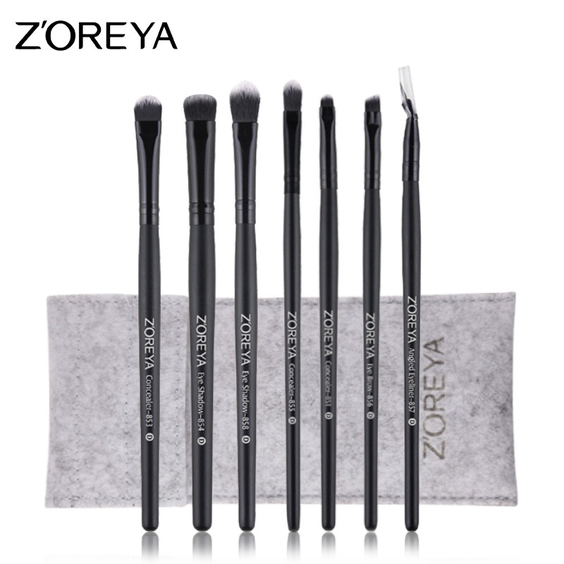 ZOREYA 7pcs Black Eye Makeup Brush Sets With High Quality Synthetic Hair Cosmetic Tools Eye Shadow Eye Brow Concealer Brushes